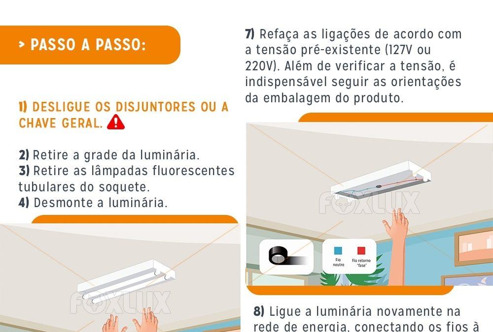Como substituir a lâmpada tubular fluorescente pela lâmpada tubular LED